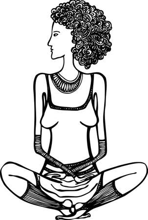 Woman sitting in lotus position black and white drawing