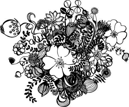 Abstract black and white flowers