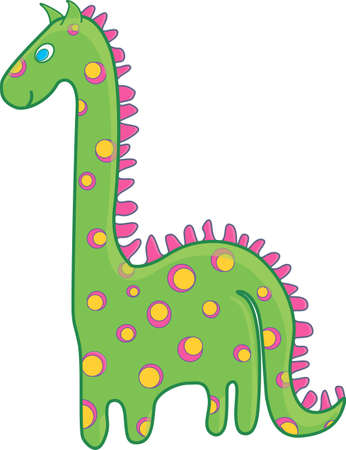 Green dinosaur with a pink and yellow spots Vector
