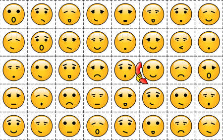 A set of yellow smileys  with different faces