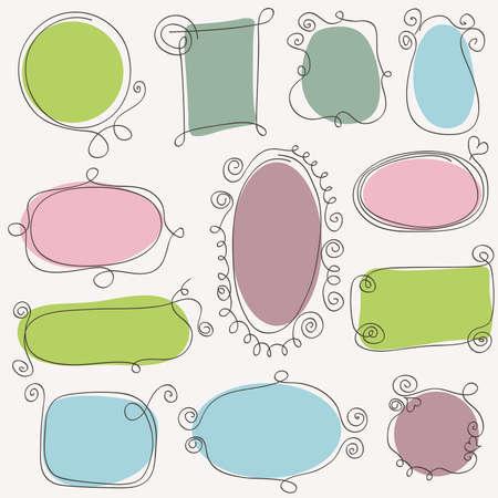 Conjunto de cuadros dibujados a mano de la vendimia. Elementos del vector de diseño