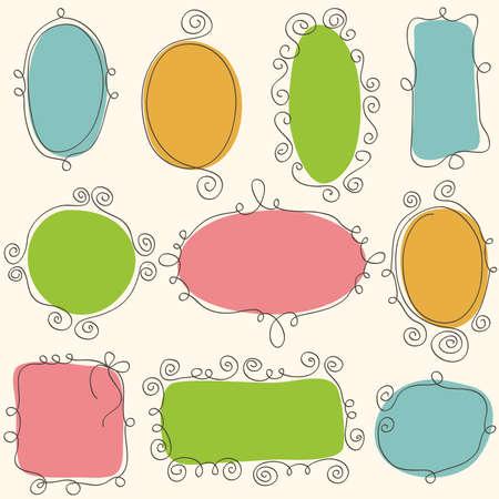 Sketch de los marcos de dibujo a mano. Elementos de diseño vectorial Ilustración de vector