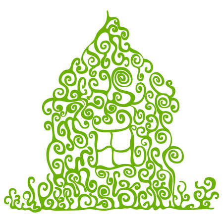 Green house illustration on white the background