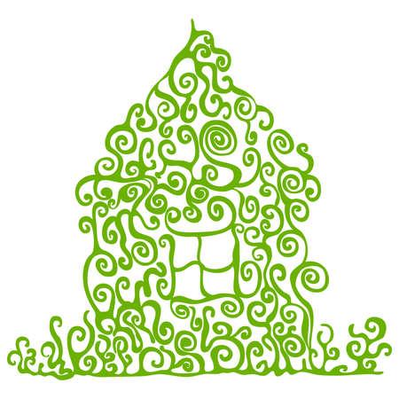bionomics: Green house illustration on white the background