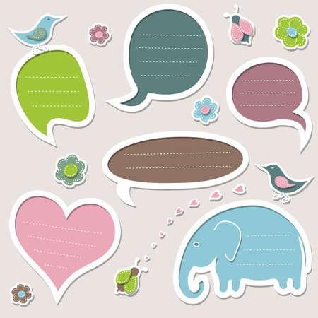 Collection of cute speech bubbles Vettoriali