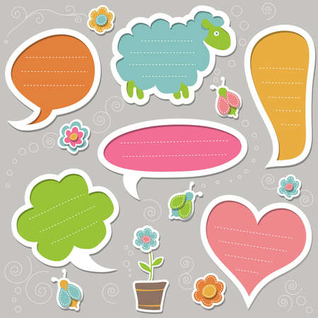 Collection of cute text frames Vector