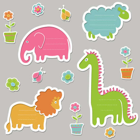 cutting sticker: Collection of cute text frames in the form of animals.  Illustration