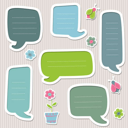 Collection of blue and green text frames