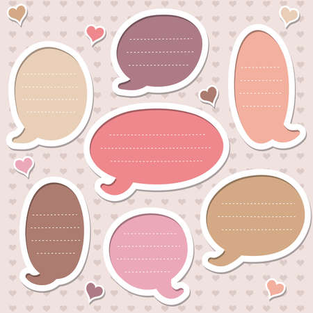 Collection of cute pink speech bubbles. Vector
