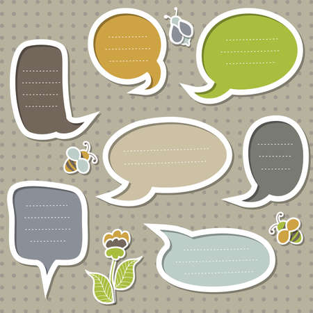 Collection of cute speech bubbles with bees and flower