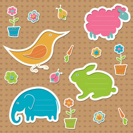 Collection of frames for text in the shape of rabbit, sheep, elephant and bird, decorated with bugs, flowers and carrots