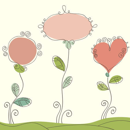 Hand drawn sweet romantic background with frames for text