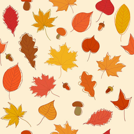 falling leaves: Autumn seamless pattern with leaves, acorns and mushrooms