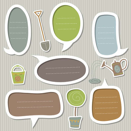 cute text box: Set of frames for text decorated by garden theme: the tree, watering can, bucket, shovel  Illustration