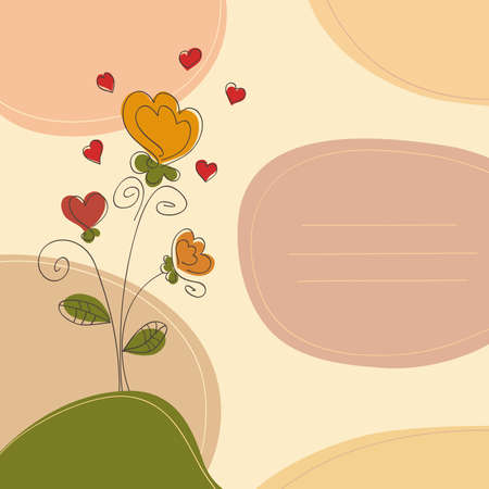 Romantic background with flowers hearts and place for text Illustration