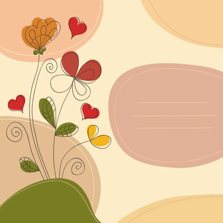 Romantic background with flowers, hearts, curlicues and place for text