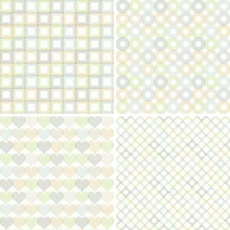 Set of seamless pattern with circles, squares, hearts and rhombuses  Vector