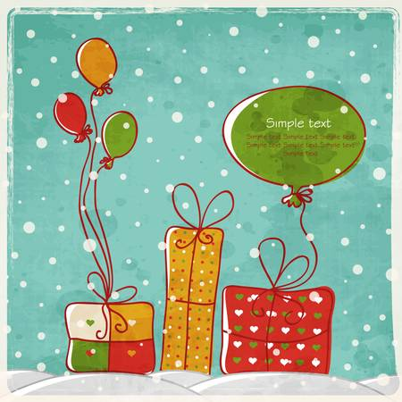 New Year greeting card with space for text in retro style