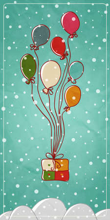 Colored balloons tied to a New Year Illustration