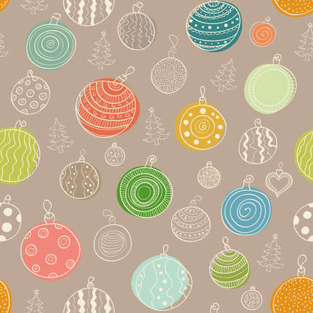 Vector Christmas seamless background with balls and Christmas trees