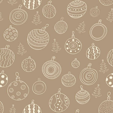 Christmas seamless pattern with balls and Christmas trees