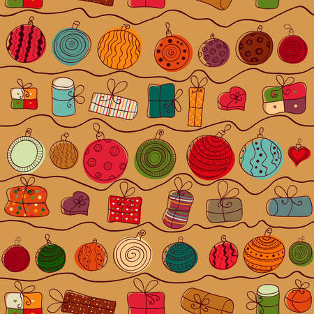 paper ball: Christmas seamless background with gifts and balloons