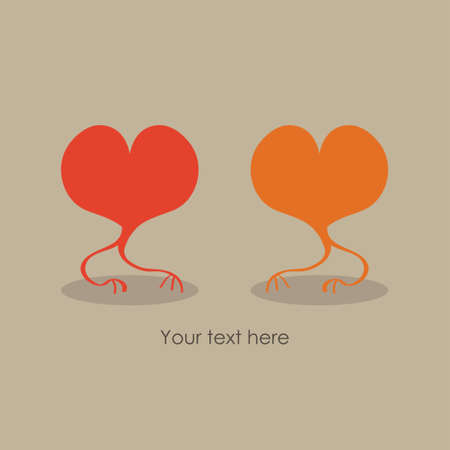 Valentine card, two hearts are meeting each other. Romantic vector illustration with space for text.