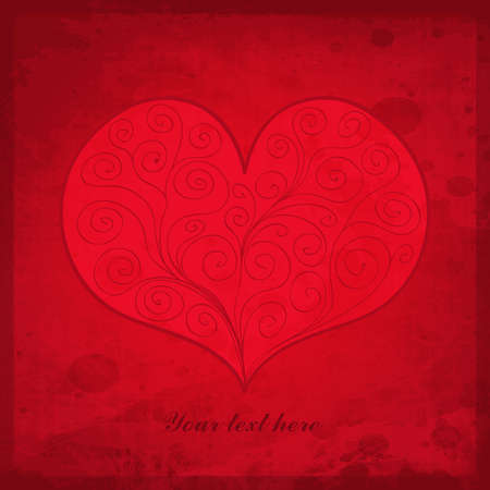 Valentine`s Day vintage gift card with heart and place for text. Romantic vector illustration.