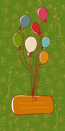 Cute greeting card with balloons, gifts and place for text