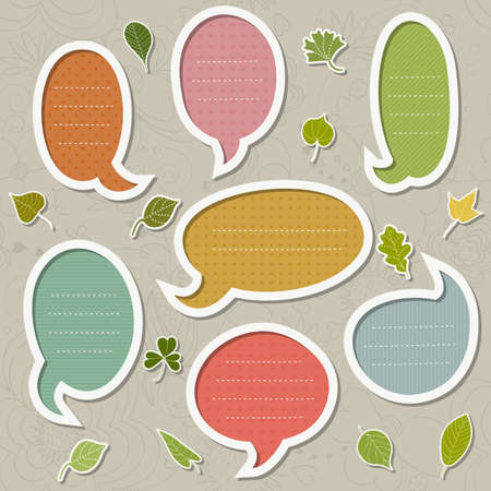 Cute set of frames for text with leaves Illustration