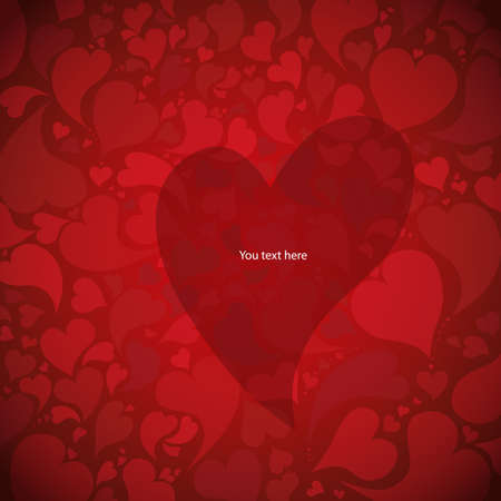 Valentine s day background with hearts and place for text  Illustration