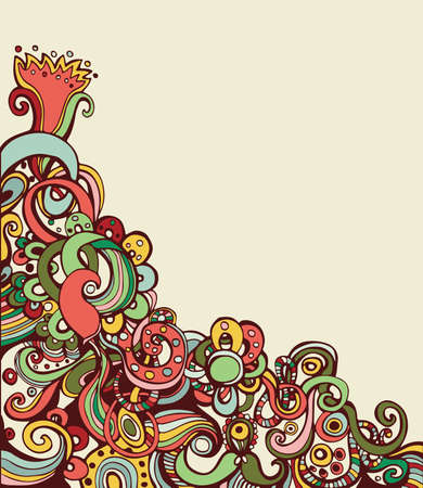 Abstract hand-drawing colored floral pattern with space for text