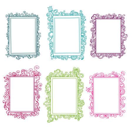 Set of colorful floral doodle frames Vettoriali