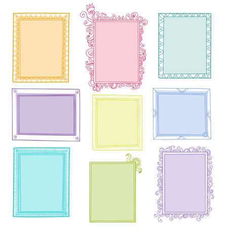 Collection of different colored frames with empty place for text or photo