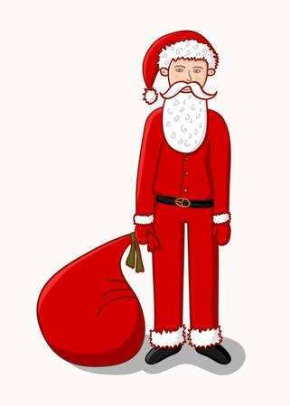 Santa Claus with a bag of gifts on a white background Illustration