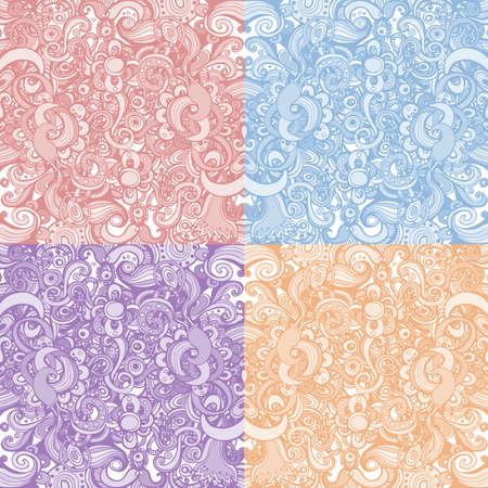 Set of four cute floral backgrounds