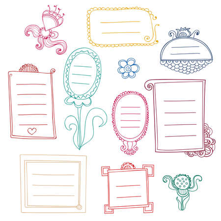 Set of colorful floral doodle frames Illustration