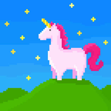 A cute unicorn stands on the hill on a starry night. Pixel art vector illustration. 8 bit style.