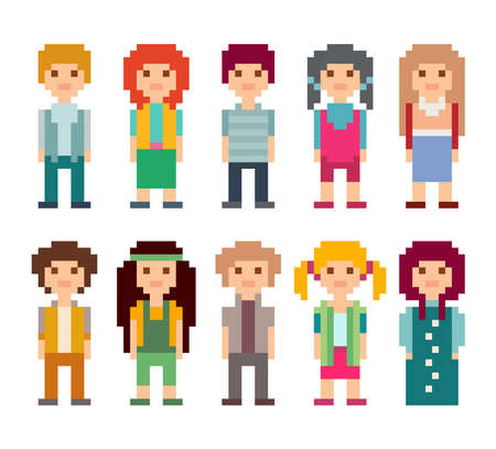 Set of pixel art style characters. Men and women standing on white background.
