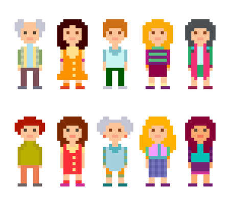 Pixel art style cartoon characters. Men and women standing on white background. Vector illustration. Vectores