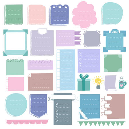Bullet journal hand drawn vector elements for notebook, diary and planner. Doodle banners, frames isolated on white background.