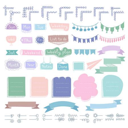 Set von Doodle-Rahmen, Ecken, Trennwänden, Bändern, Wochentagen und Designelementen