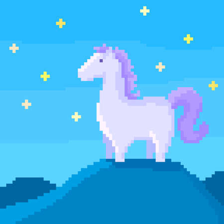 Pixel horse on a hill at starry night. 8 bit vector illustration