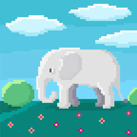 Cute 8-bit elephant is walking on a hill. Bushes, sky, and clouds on background. Bright pixel vector illustration.