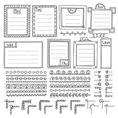 Bullet journal hand drawn vector elements for notebook, diary and planner. Doodle banners isolated on white background. Notes, list, frames, corners, dividers.