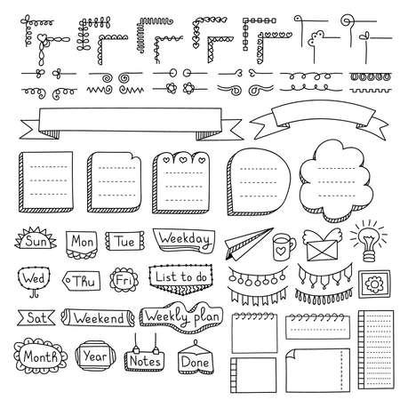 Elementi vettoriali disegnati a mano di Bullet Journal per notebook, diario e pianificatore. Bandiere di Doodle isolate su priorità bassa bianca. Giorni della settimana, note, elenco, cornici, divisori, angoli, nastri.