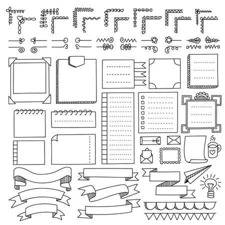 Bullet journal elementos vectoriales dibujados a mano para cuaderno, diario y planificador. Banners de Doodle aislados sobre fondo blanco. Notas, lista, marcos, separadores, cintas.