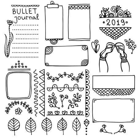 Hand gezeichnete Vektorelemente des Aufzählungsjournals für Notizbuch, Tagebuch und Planer. Gekritzelbanner lokalisiert auf weißem Hintergrund. Notizen, Liste, Rahmen, Trennwände, Blumen.
