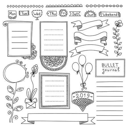 Hand gezeichnete Vektorelemente des Aufzählungsjournals für Notizbuch, Tagebuch und Planer. Gekritzelbanner lokalisiert auf weißem Hintergrund. Wochentage, Notizen, Liste, Rahmen, Trennwände, Bänder. Vektorgrafik