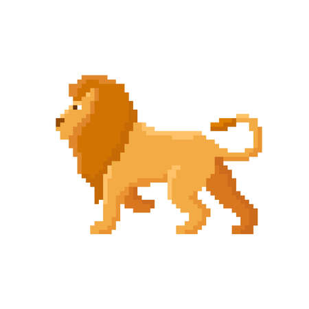 Pixel lion isolated on white background. 8 bit vector illustration
